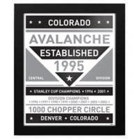NHL Colorado Avalanche Black and White Team Sign Framed Print