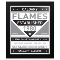 NHL Calgary Flames Black and White Team Sign Framed Print
