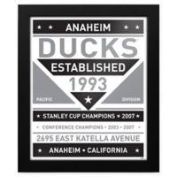 NHL Anaheim Ducks Black and White Team Sign Framed Print