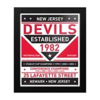NHL New Jersey Devils Dual Tone Team Sign Framed Print