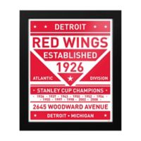 NHL Detroit Red Wings Dual Tone Team Sign Framed Print