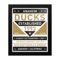 NHL Anaheim Ducks Dual Tone Team Sign Framed Print