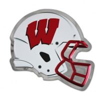 University of Wisconsin Small Football Helmet Wall Art in White/Red