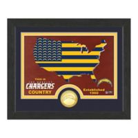 NFL Los Angeles Chargers Country Framed Wall Art with Bronze Team Coi