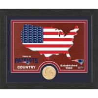 NFL New England Patriots Country Framed Wall Art with Bronze Team Coi