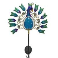 Peacock Crackle Globe Solar Lighted Garden Stake in Blue