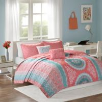 Intelligent Design Loretta 4-Piece Twin/Twin XL Coverlet Set in Coral