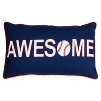 "Thro Austin ""Awesome"" Baseball Oblong Throw Pillow in Navy/Red"