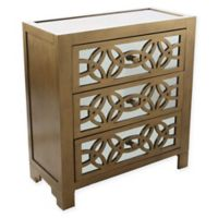 River of Goods Glam Slam 3-Drawer Cabinet in Gold