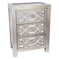 River of Goods Mini Glam Slam Mirrored 3-Drawer Cabinet in Silver