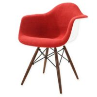 Poly and Bark Vortex Padded Armchair with Walnut Base in Red