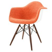 Poly and Bark Vortex Padded Armchair with Walnut Base in Orange