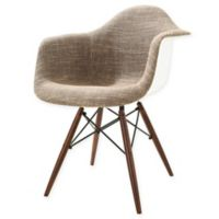 Poly and Bark Vortex Padded Armchair with Walnut Base in Taupe