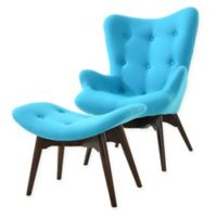 Poly and Bark 2-Piece Auzzie Tufted Lounge Chair and Ottoman in Blue