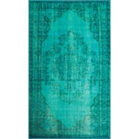 nuLOOM Vintage-Inspired Overdyed Medallion 4-Foot x 6-Foot Area Rug in Turquoise