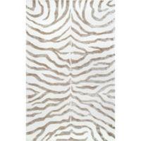 nuLOOM Plush Zebra 4-Foot x 6-Foot Area Rug in Grey