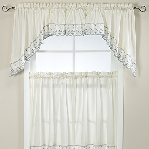 Abby kitchen window swag pair in wedgwood bed bath beyond - Swag valances for bathroom windows ...