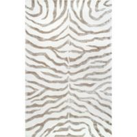 nuLOOM Plush Zebra 7-Foot 6-Inch x 9-Foot 6-Inch Area Rug in Grey