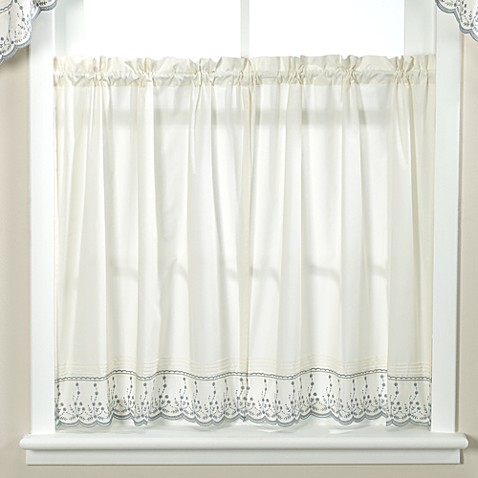 Buy abby wedgwood kitchen window curtain tier pair 36 inch from bed bath beyond for 36 inch bathroom window curtains
