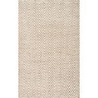 Vania Chevron 9-Foot 6-Inch x 13-Foot 6-Inch Area Rug in White