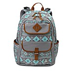 BB Gear Aztec Print Backpack Diaper Bag in Grey/Turquoise