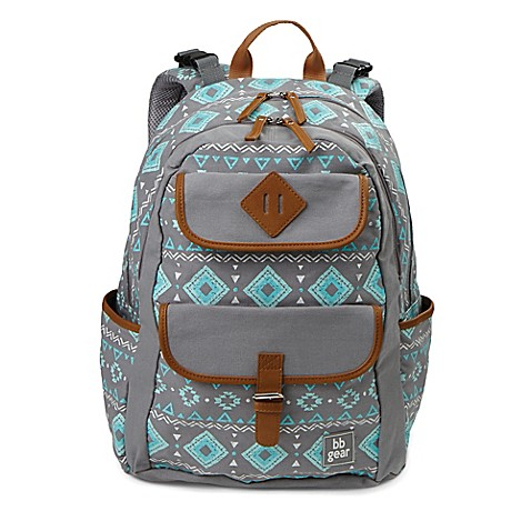 Bb Gear Aztec Print Backpack Diaper Bag In Grey Turquoise