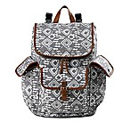 BB Gear Aztec Print Backpack Diaper Bag in Grey/White