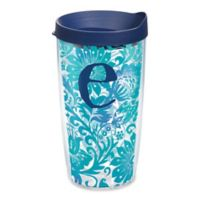 """Tervis® Blooming Wrap 16 oz. Initial """"E"""" Tumbler with Lid"""