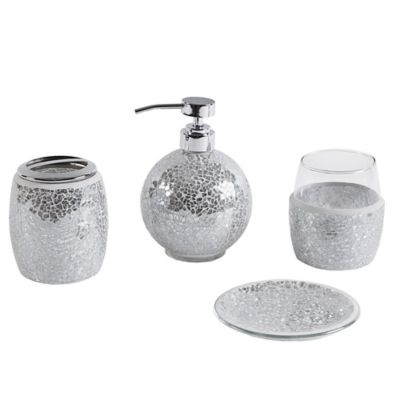 Madison Park Mosaic 4 Piece Bath Accessory Set in Silver Buy Bathroom Accessories from Bed  Beyond