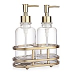 ANAHEIM Glass & Metal 3-Piece Lotion Dispenser and Caddy Set in Gold