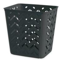 Chevron 4-Gallon Wastebasket in Black