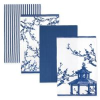 Caskata Flowering Quince Kitchen Towels in Blue/White (Set of 4)