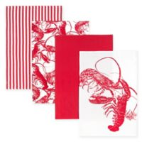 Caskata Lobster Kitchen Towels in Red/White (Set of 4)