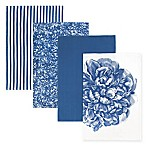 Caskata Peony Kitchen Towels in Blue/White (Set of 4)