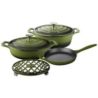 La Cuisine 6-Piece Enameled Cast Iron Oval Cookware Set in Olive