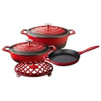 La Cuisine 6-Piece Enameled Cast Iron Oval Cookware Set in Red