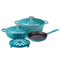La Cuisine PRO 6-Piece Enameled Cast Iron Oval Cookware Set in Teal