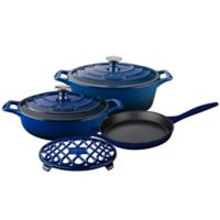La Cuisine PRO 6-Piece Enameled Cast Iron Oval Cookware Set in Ultra Marine