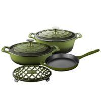 La Cuisine PRO 6-Piece Enameled Cast Iron Oval Cookware Set in Olive