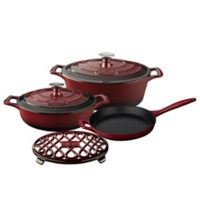La Cuisine PRO 6-Piece Enameled Cast Iron Oval Cookware Set in Ruby
