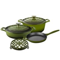 La Cuisine PRO 6-Piece Enameled Cast Iron Round Cookware Set in Olive