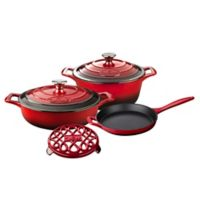 La Cuisine PRO 6-Piece Enameled Cast Iron Round Cookware Set in Red