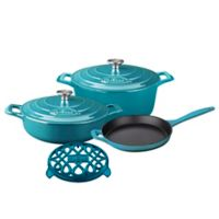La Cuisine 6-Piece Enameled Cast Iron Round Cookware Set in Teal