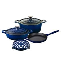 La Cuisine 6-Piece Enameled Cast Iron Round Cookware Set in Ultra Marine