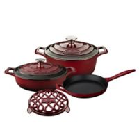 La Cuisine 6-Piece Enameled Cast Iron Round Cookware Set in Ruby