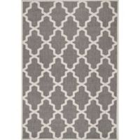nuLOOM Gina Moroccan Trellis 3-Foot 3-Inch x 4-Foot 11-Inch Indoor/Outdoor Accent Rug in Grey