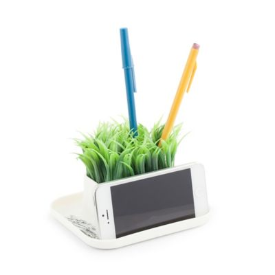 Kikkerland Desk Organizer Pen Stand Phone Holder With Faux Grass