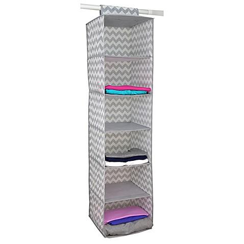 Home Basics® Chevron 6 Shelf Hanging Closet Organizer In Grey