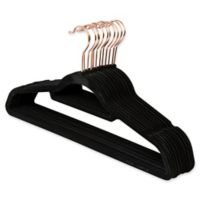Real Simple® 12-Count Flocked Suit Hangers in Black with Rose Gold Hook