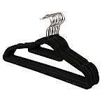 Real Simple® 12-Count Flocked Suit Hangers in Black with Gunmetal Hook